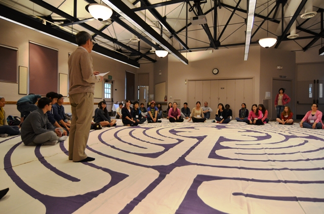 Participants were led through guided meditation and given time for reflection while doing a walking meditation called the labyrinth.