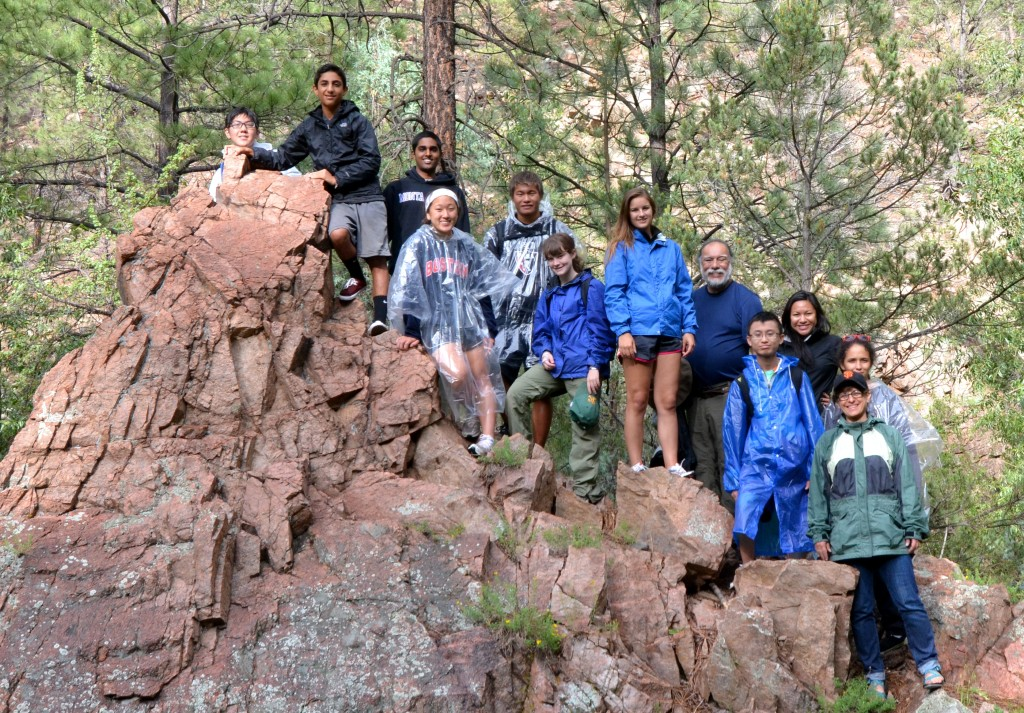 The teens and their fearless leaders on top the canyon!