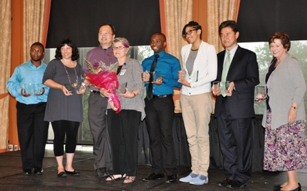 Rev. Yoshida, second from right, with other awardees